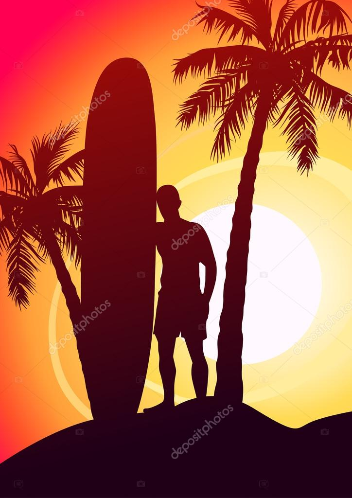 Surfing Guy With Surfboard And Palm Trees Stock Vector