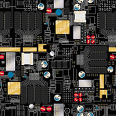 Fotografie Circuit board with components and wires seamless pattern