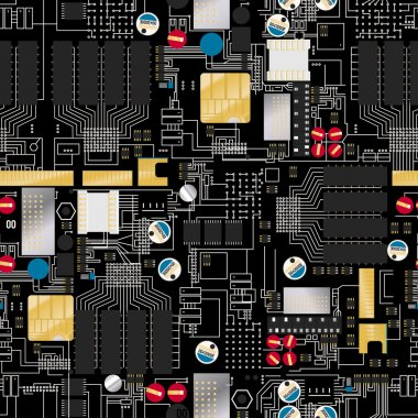 Circuit board with components and wires seamless pattern