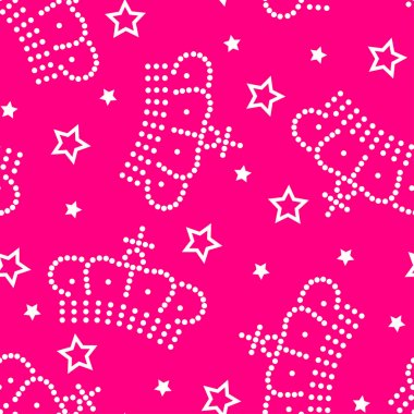 Crowns and stars seamless pattern