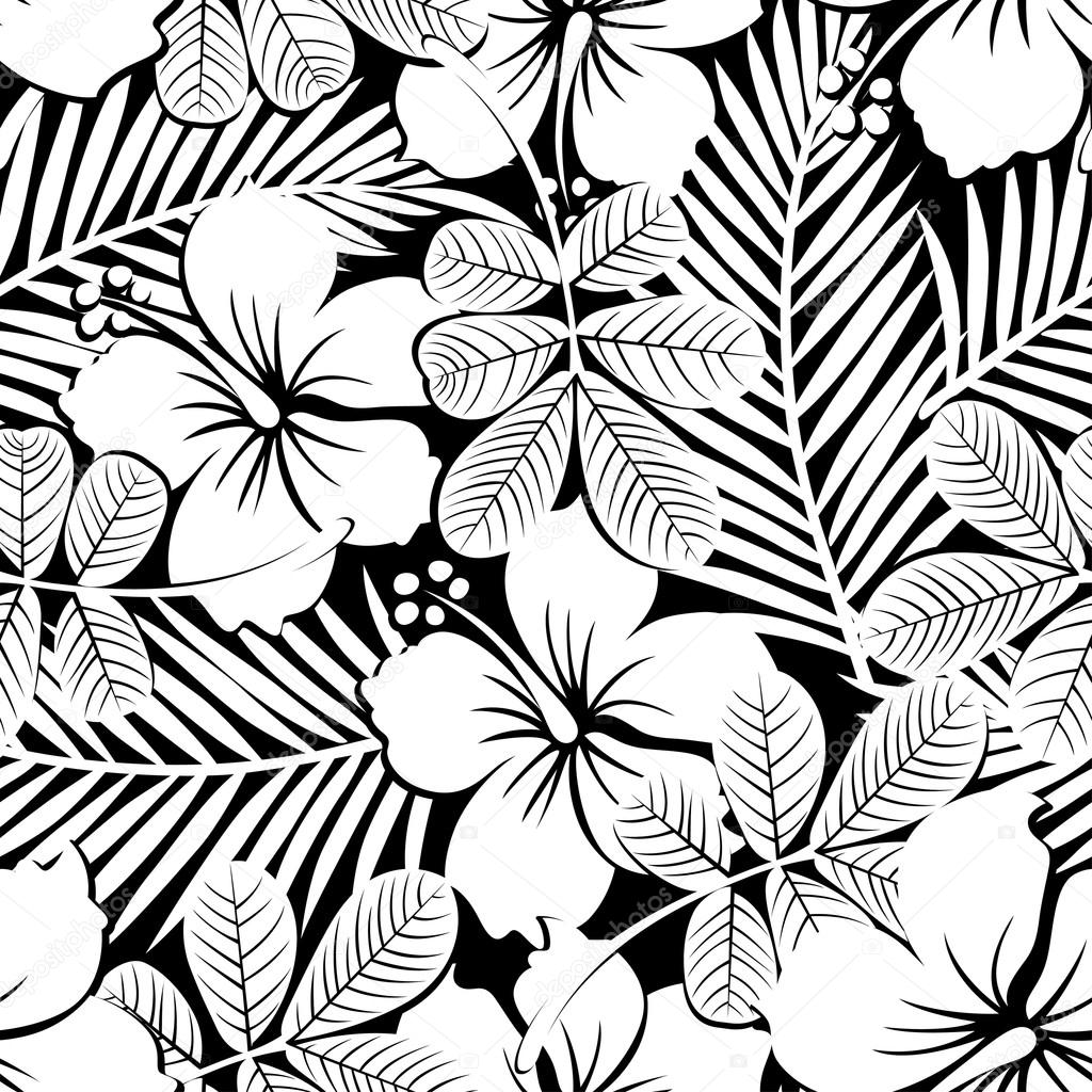Black and white tropical hibiscus flowers and plants seamless pa