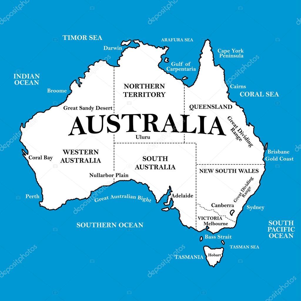 mapa da austrlia com locais sobre um fundo azul vetores de stock