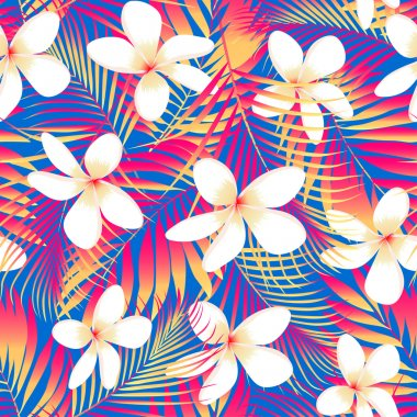 Tropical flowers with leaves seamless pattern