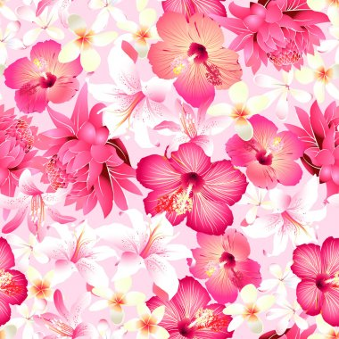 Tropical flowers with pink background seamless pattern