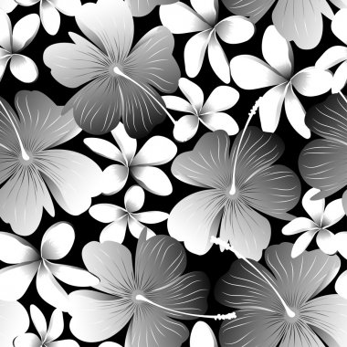 White tropical hibiscus flower with frangipani seamless pattern