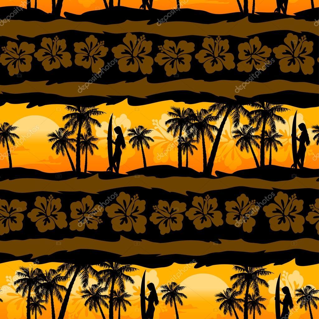 Tropical frangipani with palms sunrise seamless pattern