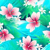 Trópusi fehér hibiszkusz virágok és zöld levelek zökkenőmentes min