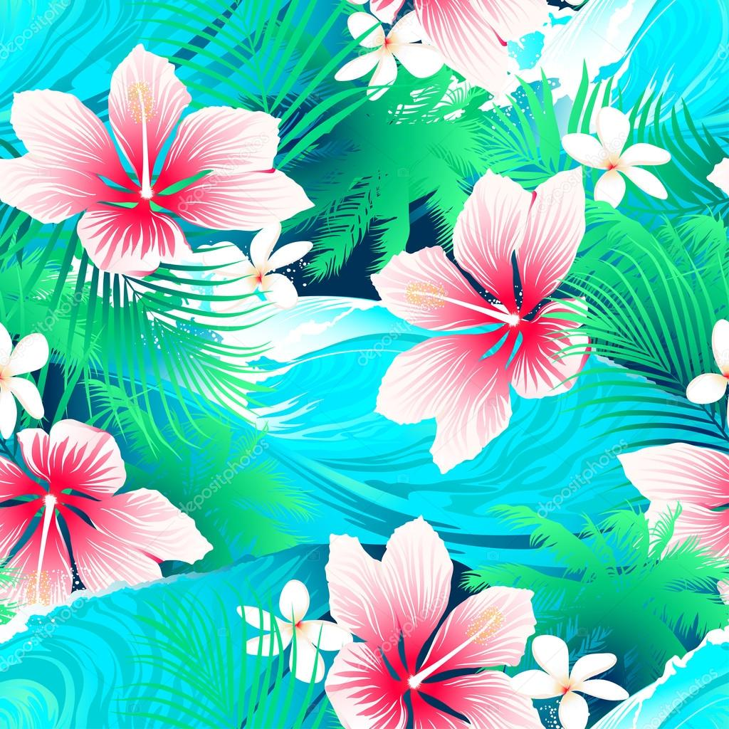 Tropical white hibiscus flowers with green leaves seamless patte