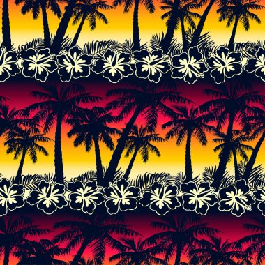 Tropical palm tree at sunset with hibiscus flowers seamless patt