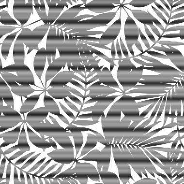 White and black striped tropical leaves seamless pattern