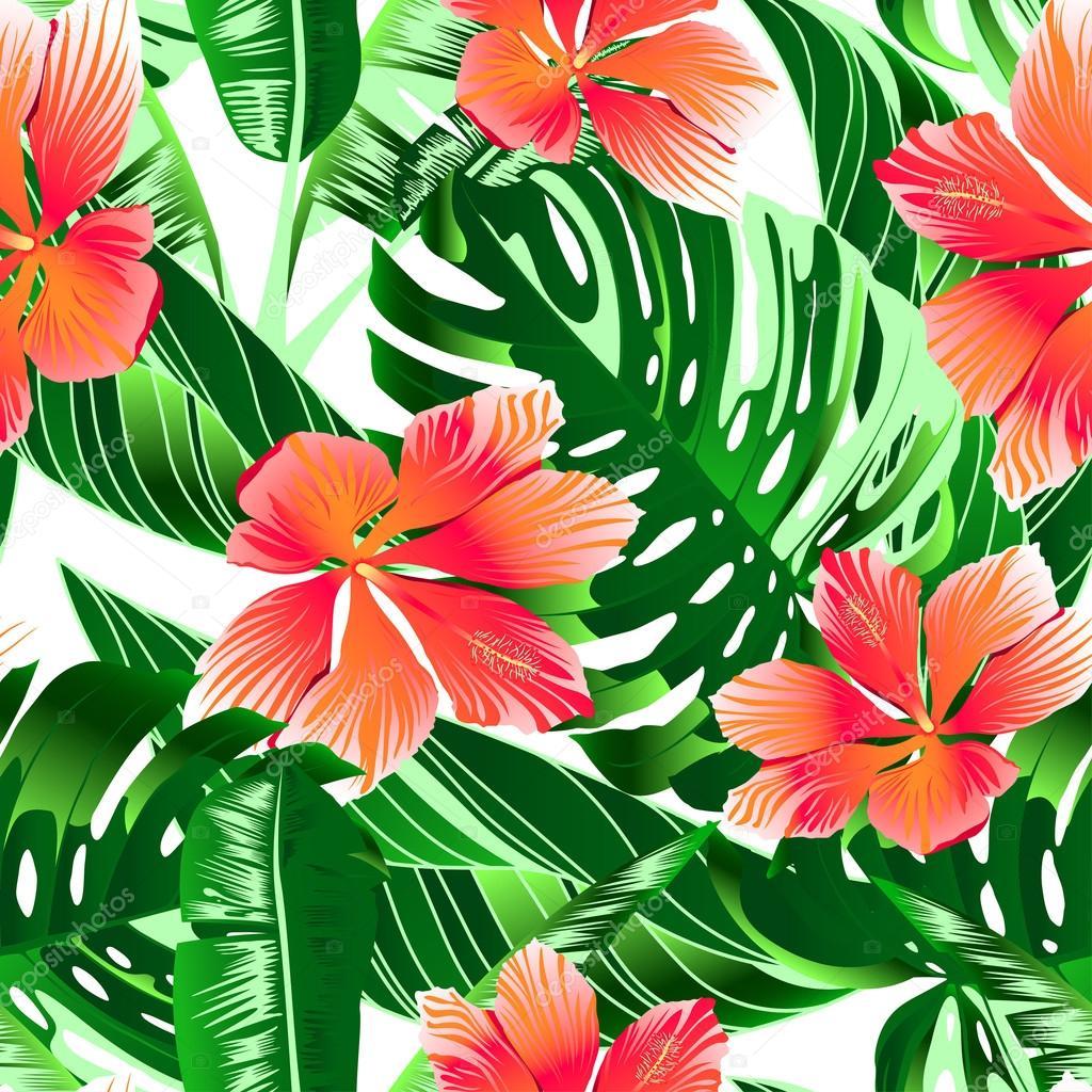 Dessin sans soudure de fleurs tropicales hibiscus orange - Fleur d hibiscus dessin ...