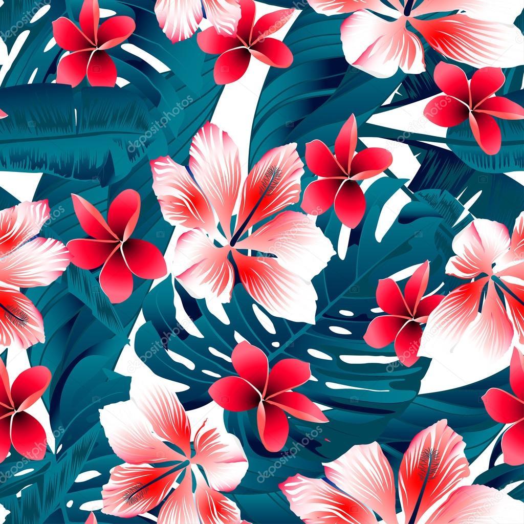 Dessin sans soudure de fleurs rouges et blanches hibiscus tropical image vectorielle - Dessin hibiscus ...