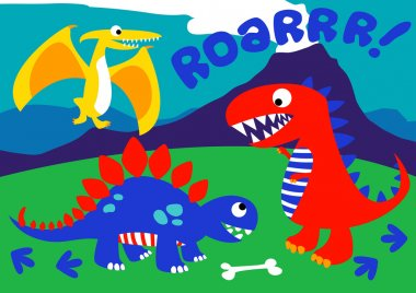 3 Cute dinosaurs standing on a hill