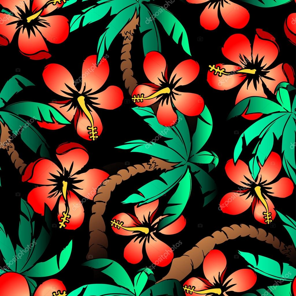 Hand drawn tropical palm and hibiscus seamless pattern