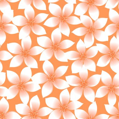 Orange tropical Plumeria and Hibiscus floral seamless pattern