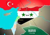 Geopolitická mapa Sýrie s navrhovaného plynovodu