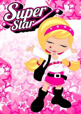 Super star girl on pink star background