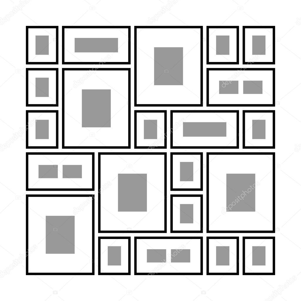 Diferentes marcos en la pared — Archivo Imágenes Vectoriales ...