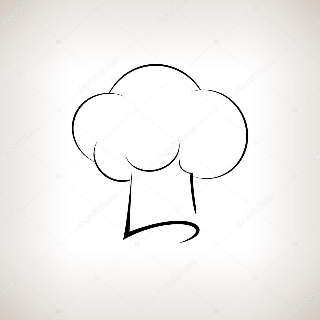 силует шеф кухаря Toque капелюх на світлому фоні векторні