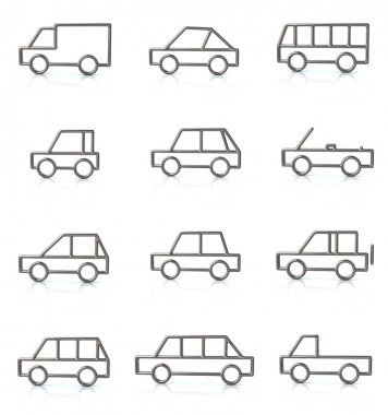 Set of silver transport icons