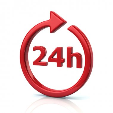 Red open 24 hours icon