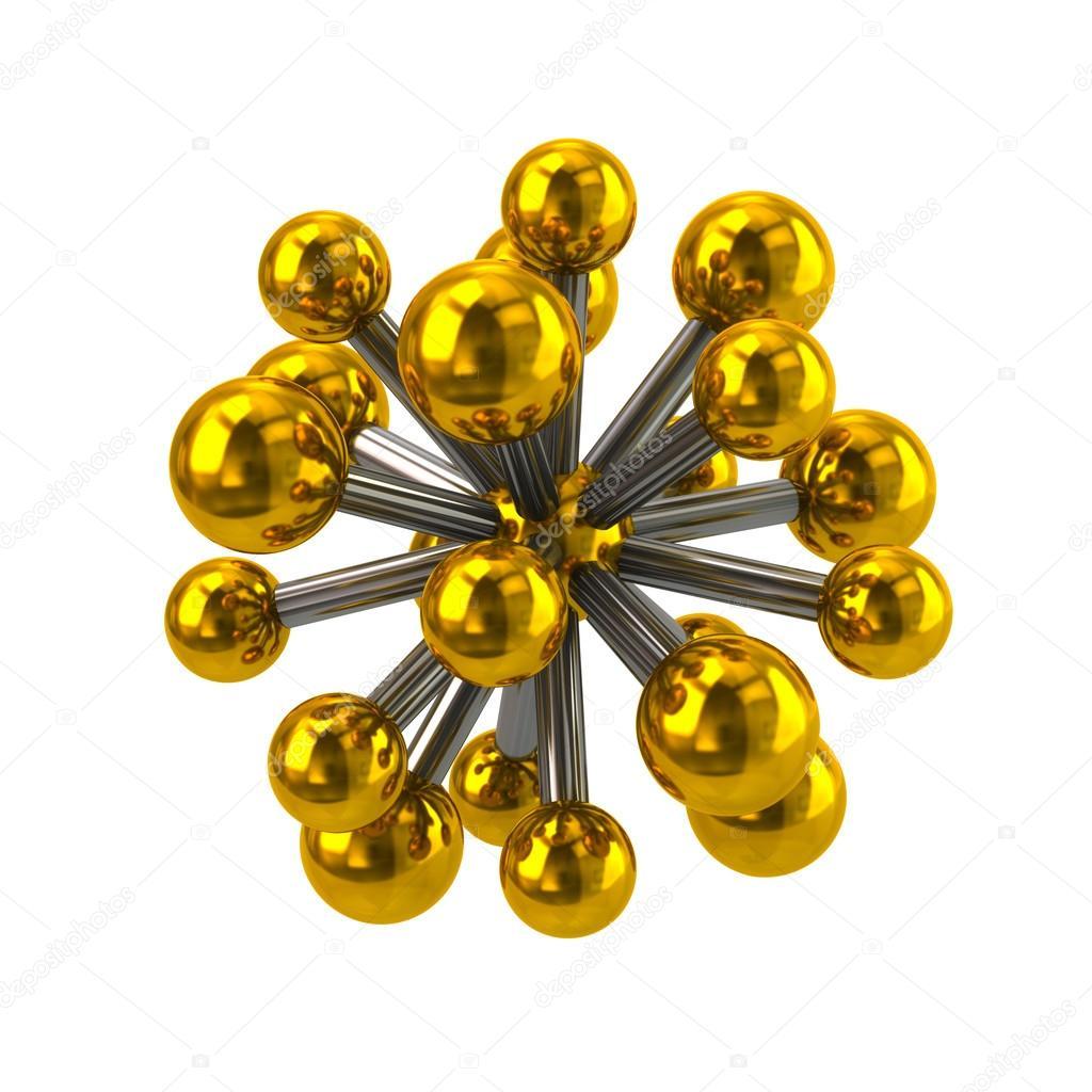 Estructura Cristalina Del Oro Icono De La Molécula De Oro
