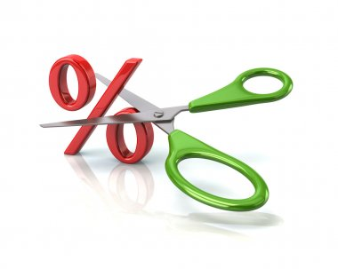 green scissors cutting percent sign