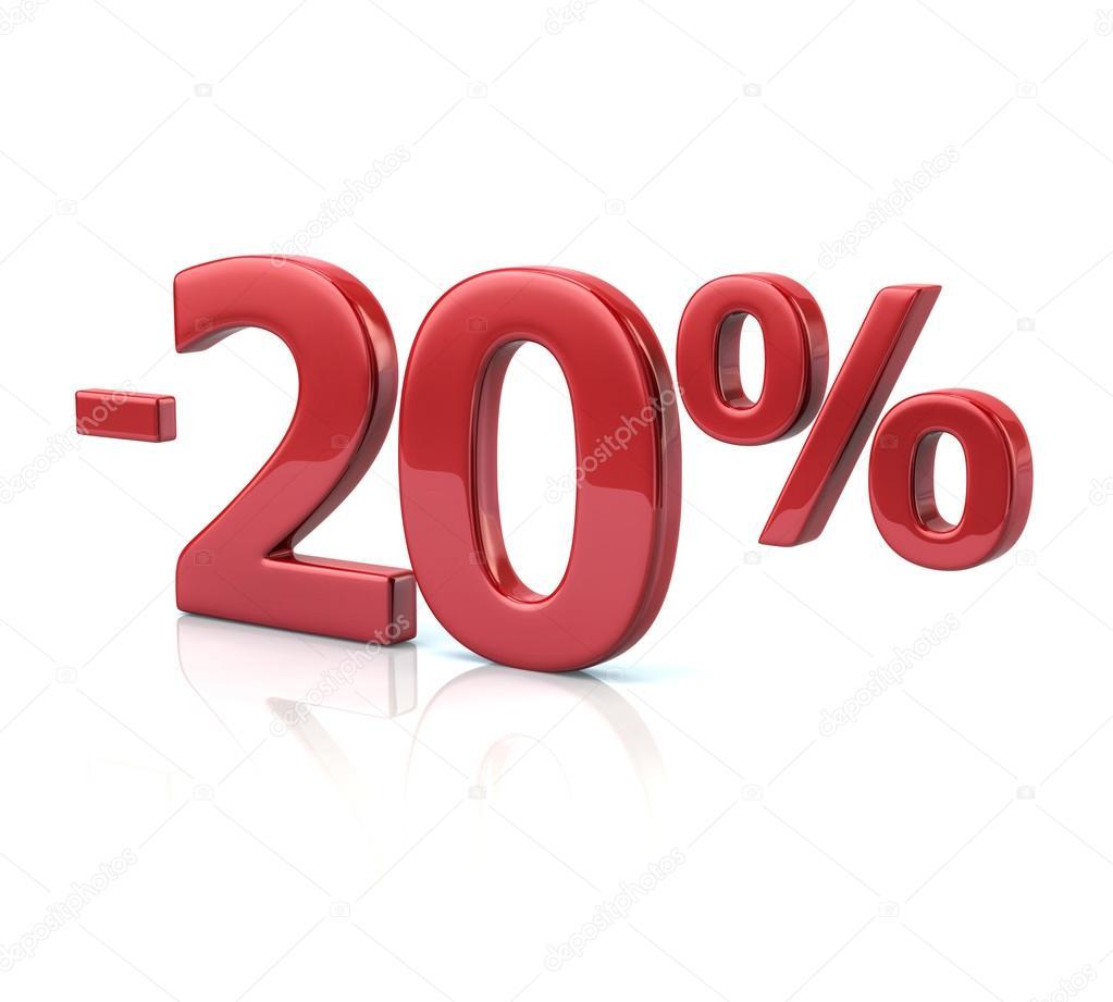 Icône de réduction de 20 pour cent — Photographie valdum ...