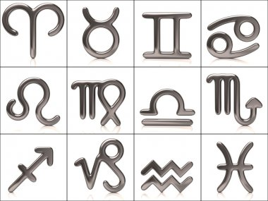 Set of silver zodiac signs