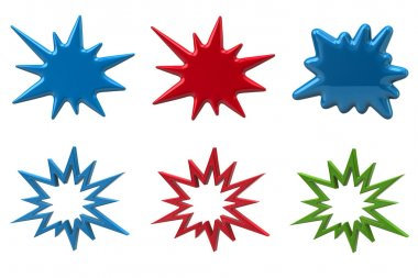 Set of bursting star icons