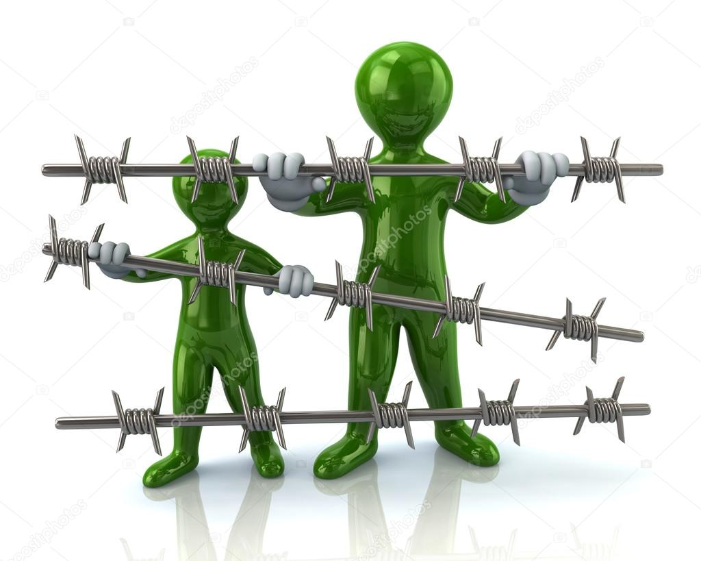 two refugees behind barbed wire — Stock Photo © valdum #88952796