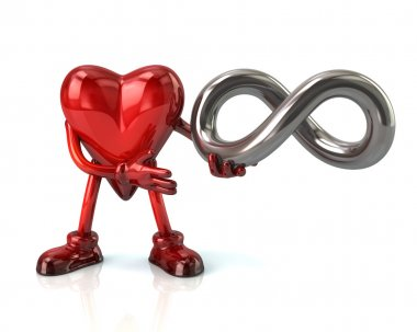 Cartoon heart with infinity symbol