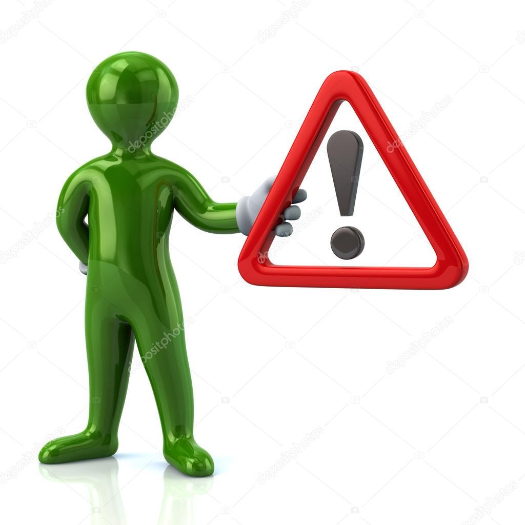 Dessin Panneau Attention homme tenant le panneau d'avertissement attention — photographie