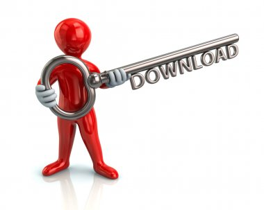 man holding key with word download