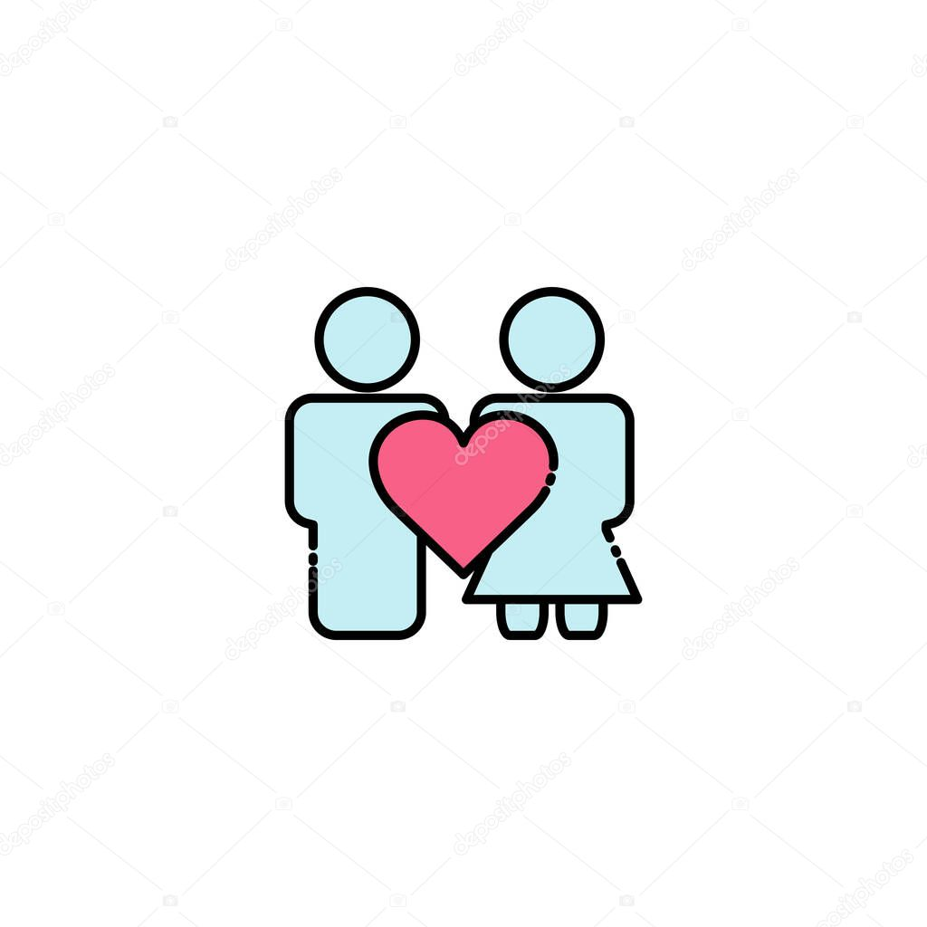 People lineal color icon with heart icon