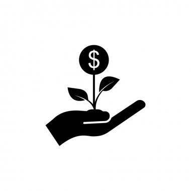 Hand icon with plant and money. Economic growth, flowers, financial growth icons. Internet concept symbol for website button or mobile app. simple design editable. Design template vector icon