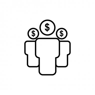 People line icon with dollar. teamwork, business symbol. Editable stroke. simple illustration mobile concept app line icon and web design. Editable stroke. Design template vector icon