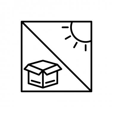 Box line icon with sun. Cargo box. keep it away from the sun. Editable stroke. Design template vector icon