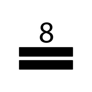 Square icon and figure eight. maximum stack symbols. Editable stroke. Design template vector icon