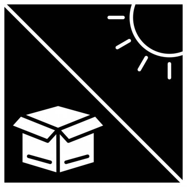 Box icon with sun. Cargo box. keep it away from the sun. Editable stroke. Design template vector icon