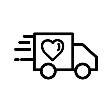 Truck line icon with heart. charity symbol, donation, humanity. Editable stroke. Design template vector icon