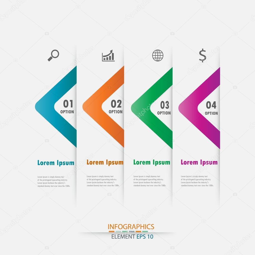 Plantilla de moderno diseño infografía flecha etiqueta element ...