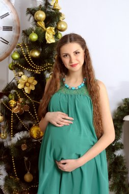 Pregnant girl on a background of the Christmas tree