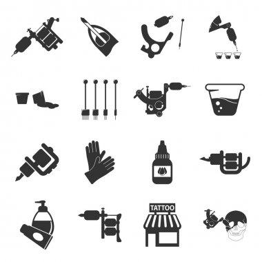 Tattoo, parlor, machine 16 black simple icon. Tattoo studio designed icons.
