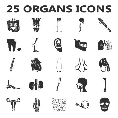Organs set 25 black simple icons. Body, anatomy, medical icon design for web and mobile.