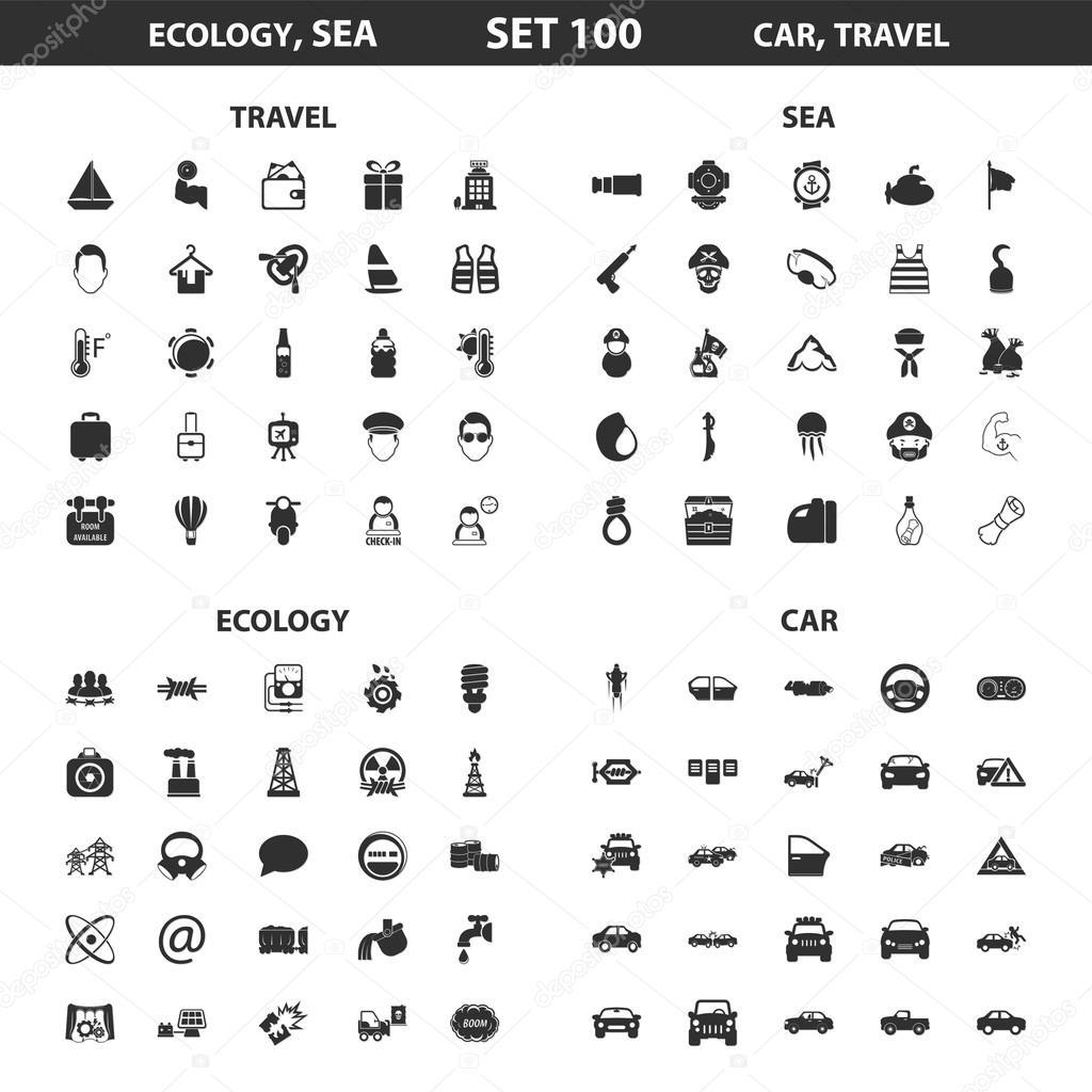 Ökologie, Meer set 100 schwarz einfache Symbole. Ozean, Auto Icon ...