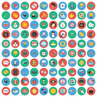 Gambling, game, Poker, casino 100 flat icons. Flat Casino,gambing game icon design for web.