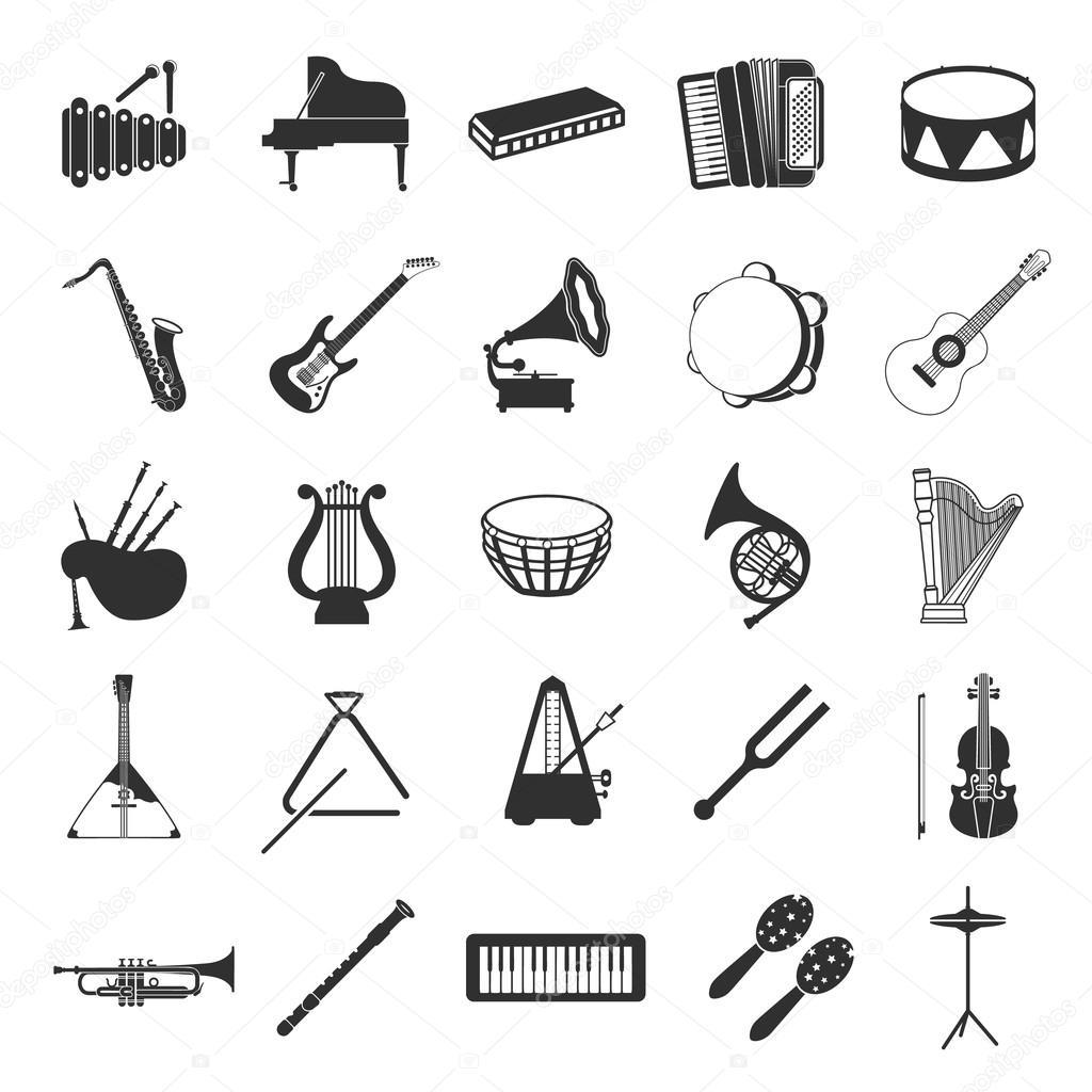 Musikinstrumente set 25 schwarz einfache Symbole. Musik-Geräte ...