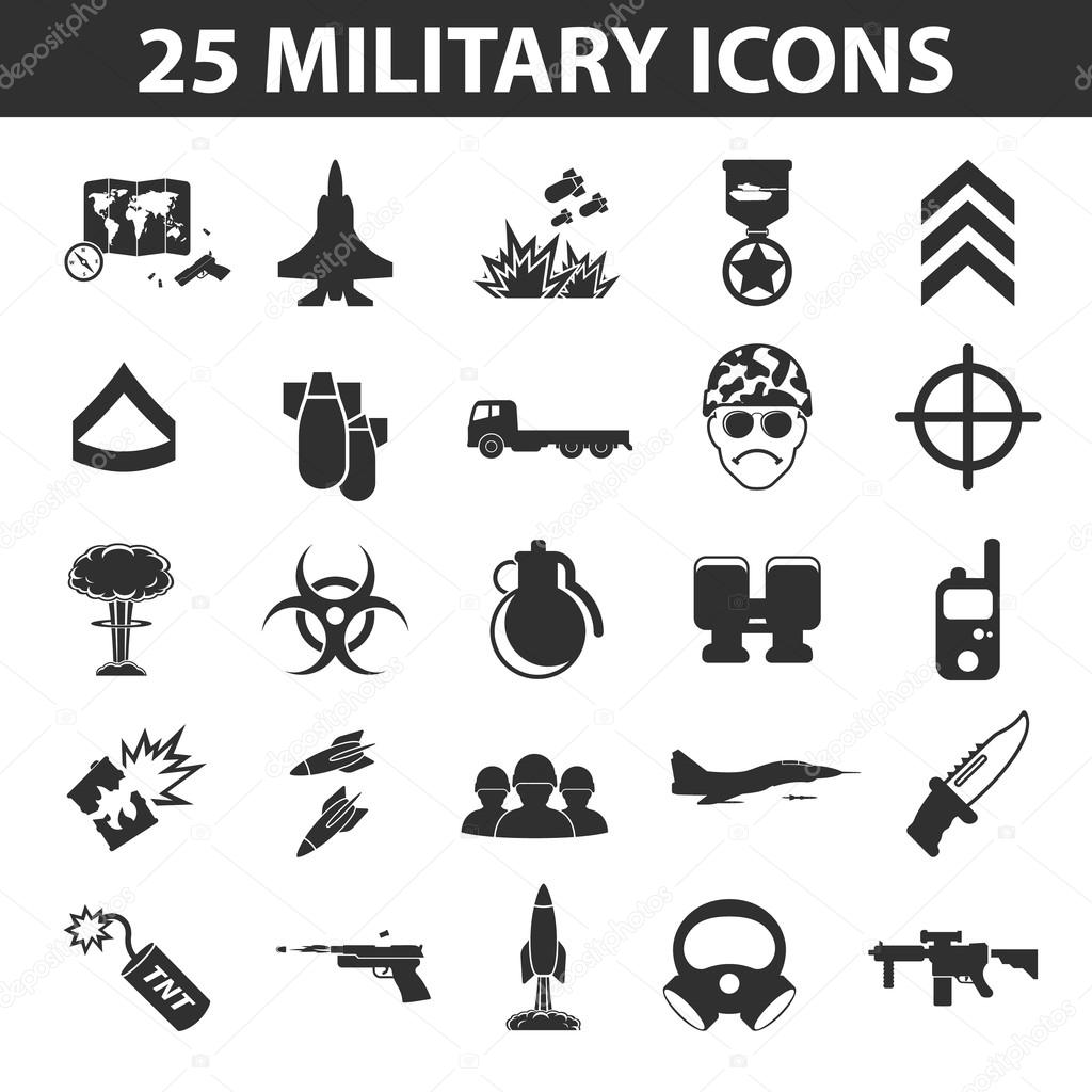 Military set 25 black simple icons. Army and weapon icon design for web and mobile.