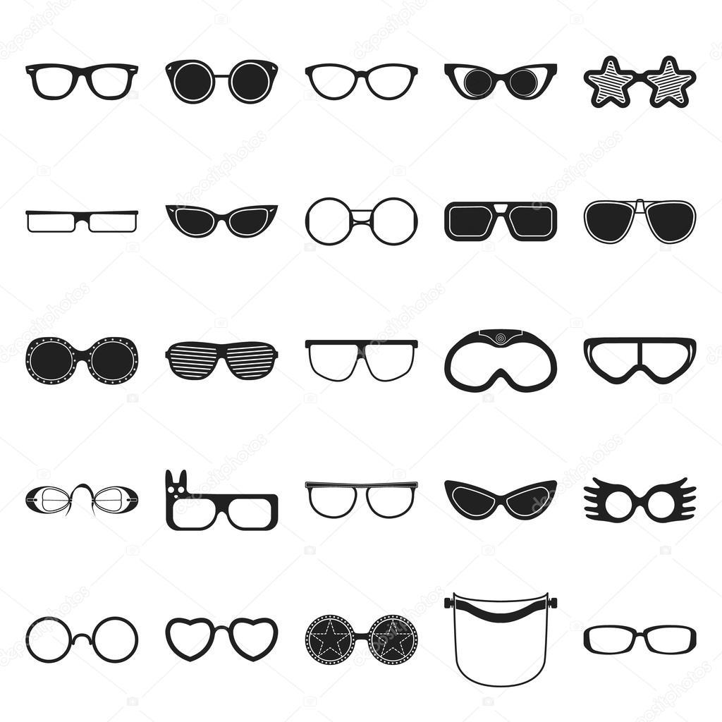 Brille 25 schwarz einfache Symbole festgelegt für web — Stockvektor ...